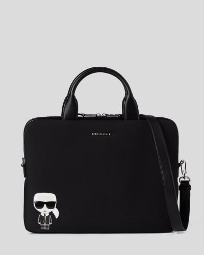 Czarna materiałowa torba na laptopa