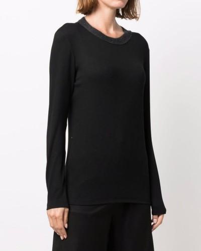Czarny t-shirt z długim rękawem