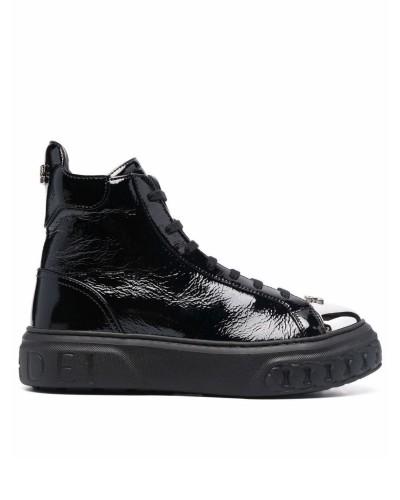 Czarne lakierowane sneakersy do kostek