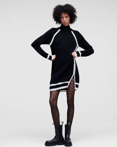 Czarno biały wełniany długi sweter