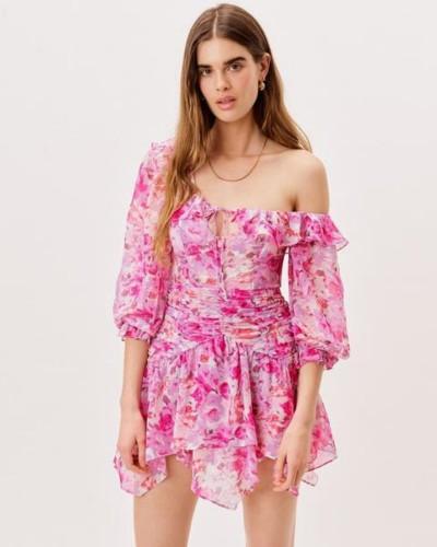 Różowa sukienka mini w print