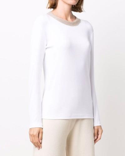 Biały t-shirt z długim rękawem