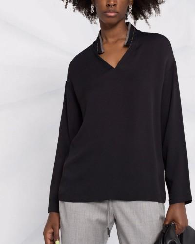 Czarna bluzka polo z długim rękawem