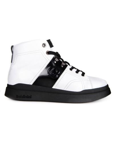Białe skórzane sneakersy męskie