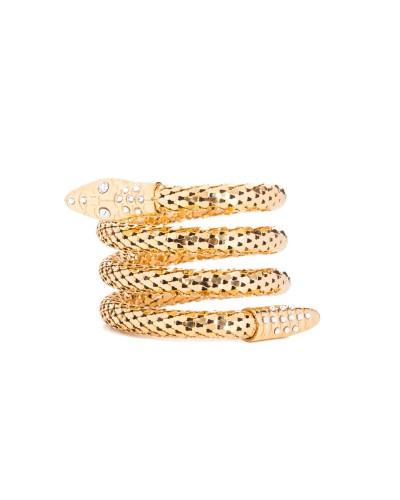 Złota metalowa bransoletka w kształcie węża