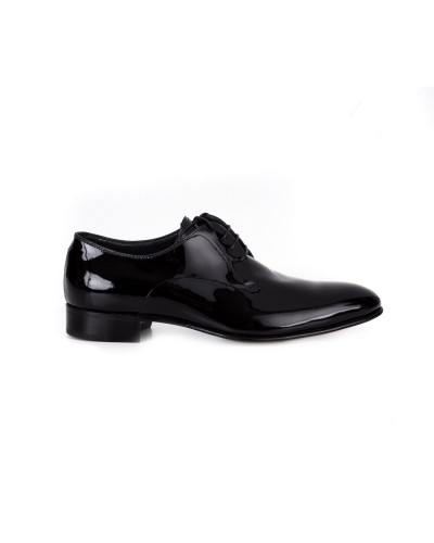 Eleganckie czarne lakierowane półbuty męskie